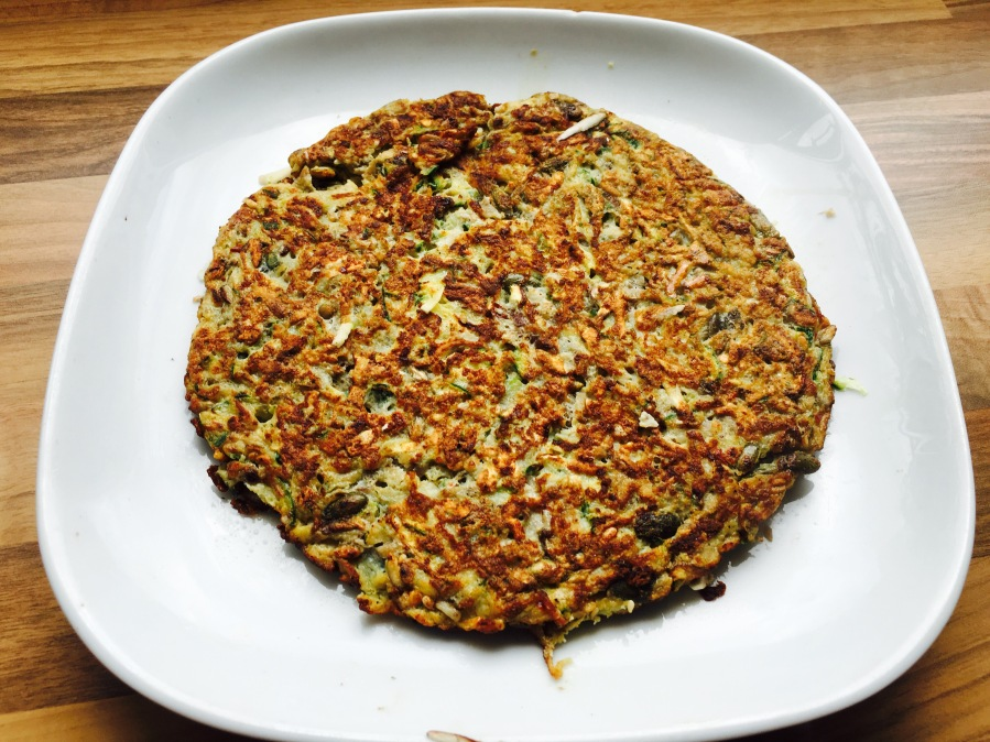 Paleo grated courgettes frittata with mixed seeds
