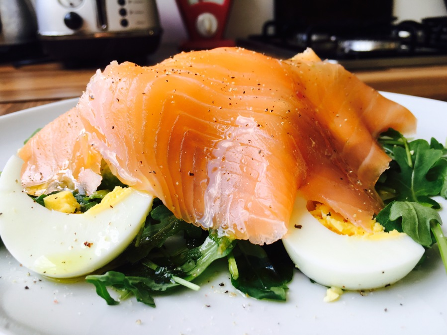 Smoked salmon with boiled eggs and avocado