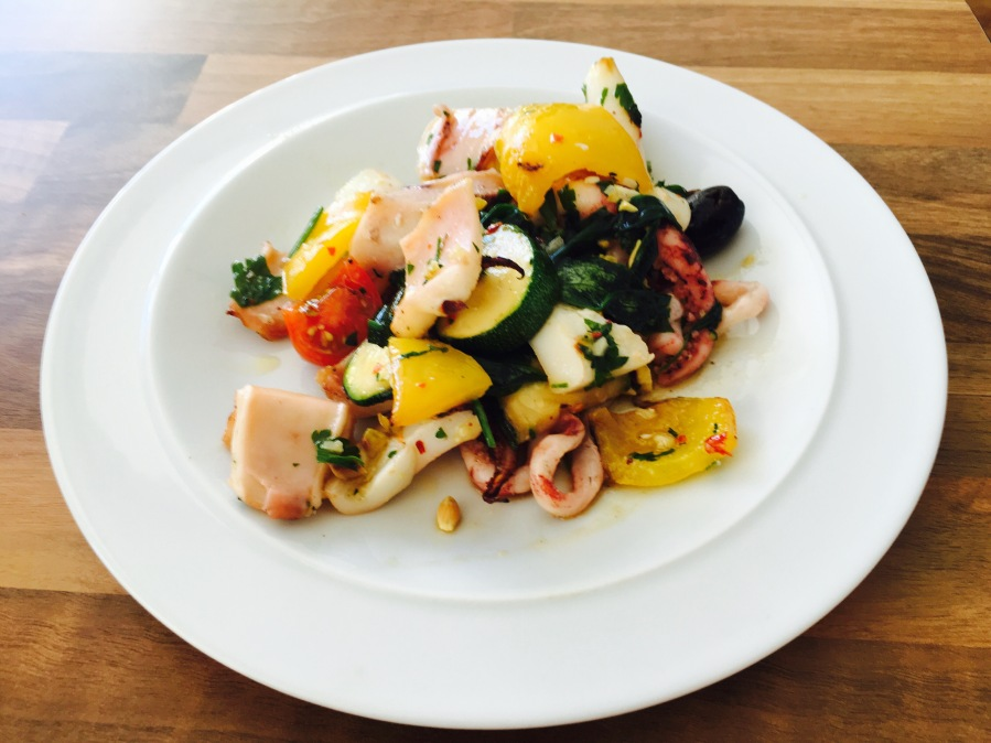 Grilled squid and vegetables in a parsley and garlic dressing