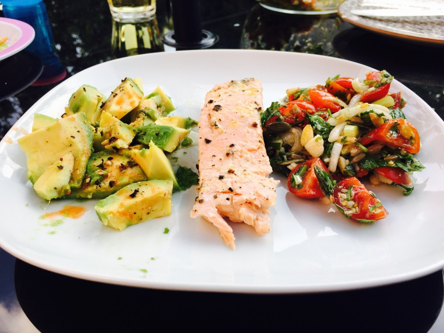 Grilled salmon with tabouli style salad and avocado