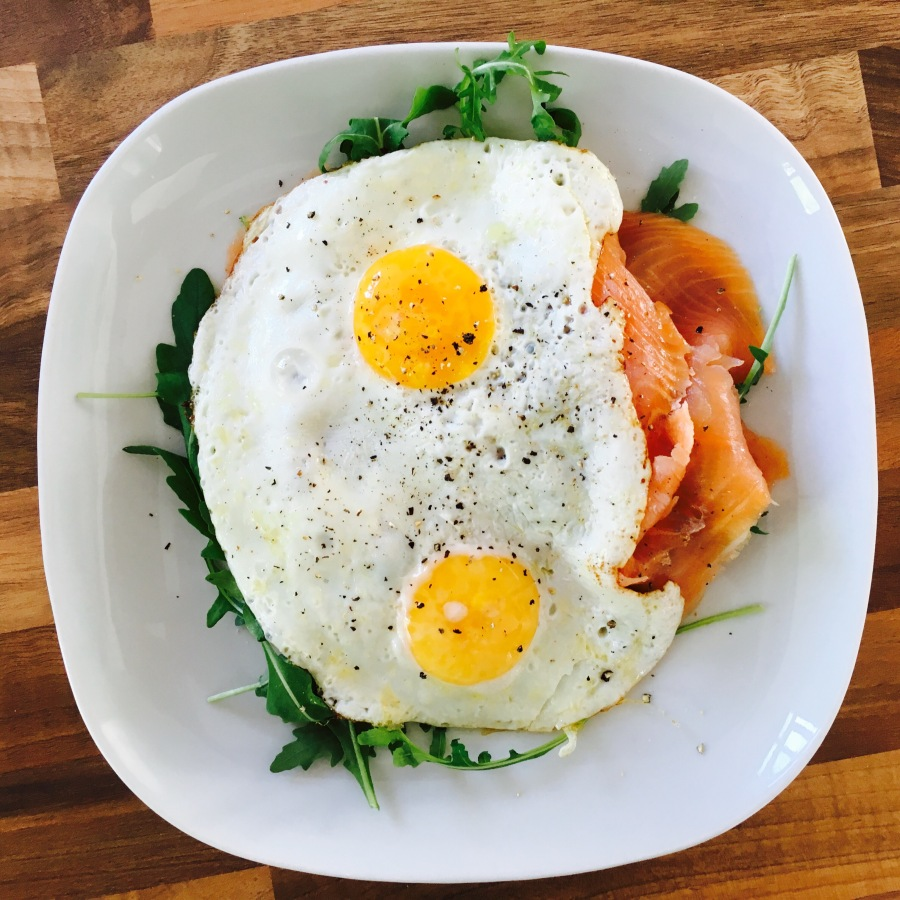 Minimalist eggs and salmon Paleo brunch