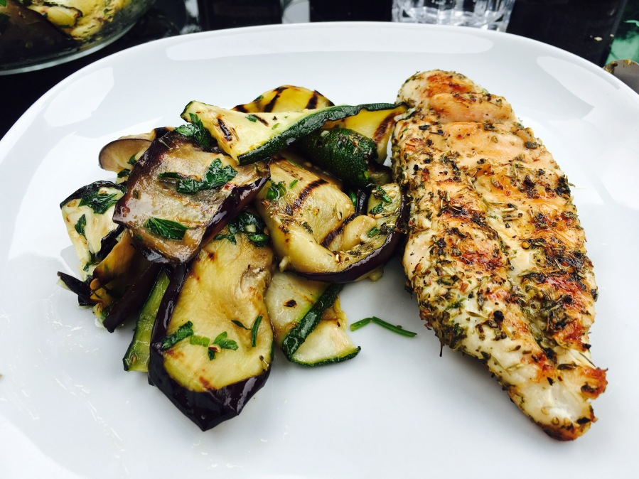 Grilled chicken breast with grilled courgettes and aubergines warm salad